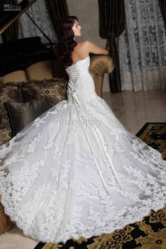 full A line lace sweetheart Wedding Dresses Bridal Gown with lace-up back 50184