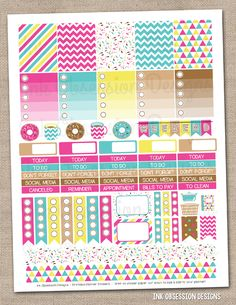 Coffee and Donuts Printable Planner Stickers PDF Instant Download Weekly Graphics Kit