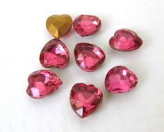 Vintage Glass Rhinestone Jewel Rose Pink Heart