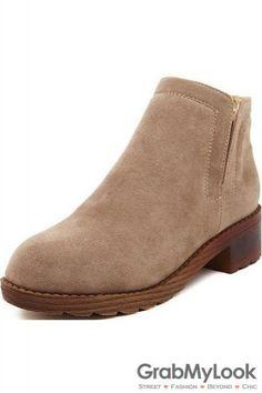 Vintage Suede Khaki Brown Black Leather Wooden Sole Ankle Women Flats Boots Shoes