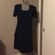 "Dress Dress; navy blue.  Worn once; Excellent condition. Has ""attached coat""; single button in front.  Polyester/spandex material allows for some stretch/comfort.  Machine wash.  Women's size 8. Just in Thyme Ltd Dresses"