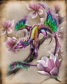 Season of the Drakon.. Dragon...Matted Print... by mysticmoonmedia