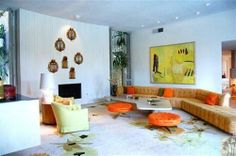 Arthur Elrod's Pre-Lautner Palm Springs House Up For Sale Exactly As It Was in 1962 - Deserting - Curbed LA LOVE THIS Fireplace wall!