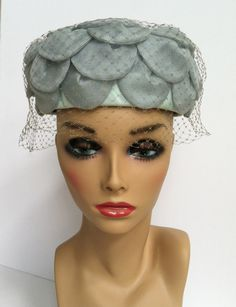 Hat Size 20 Mid Century Hats Winter Fall Feather Hat Tan Vintage Pillbox Hat Vintage 1950s Christine Original Black Brown Netting