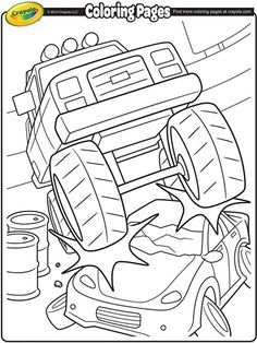 Give this monster truck scene some color with this printable coloring page.