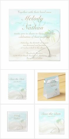 Watercolor Tropical Beach Wedding #wedding #WeddingInvitation #Bridal