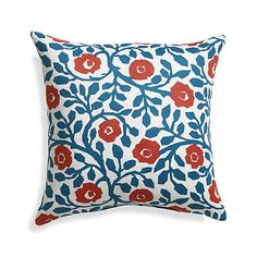 "Poppy Scroll 20"" Sq. Outdoor Pillow Love the Island Indigo and Cajun Craze together:)"