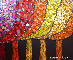 Fairy forest by Leena Nio. Colourful mosaic trees using round tiles