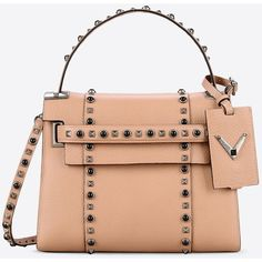 Valentino Garavani My Rockstud Rolling Small Single Handle Bag ($2,790) ❤ liked on Polyvore featuring bags, handbags, shoulder bags, skin color, red purse, valentino handbags, leather shoulder bag, genuine leather handbags and genuine leather shoulder bag