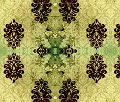 Vintique DOUBLE Damask rust fabric by nascustomwallcoverings on Spoonflower - custom fabric