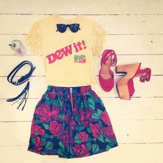 """BleeckerSt.com Womens' Outfit of the day """"Full of Love, Hope and Diet Coke"""" Outift: Jeffrey Campbell red platform shoes, vintage printed women's tshirt, printed floral mini skirt, fringe belt, sunglasses"""