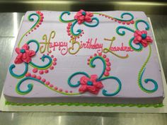 Inspirational Sheet Cake Decorating Ideas with regard to Scrolls And Flowers Girly Birthday Cake Girly Birthday Cakes, Birthday Sheet Cakes, Birthday Cakes For Women, Birthday Cupcakes, Birthday Cake Designs, Birthday Design, Birthday Cale, Birthday Ideas, Birthday Cake Decorating