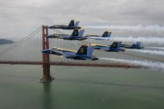 The US Navy's Blue Angels fly in a Delta formation past the Golden Gate Bridge in October 2006.