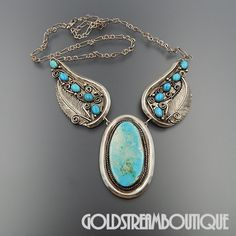 VINTAGE NAVAJO STERLING SILVER GORGEOUS AMERICAN TURQUOISE FEATHERS NECKLACE