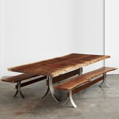 walnut table and benches with custom steel and wood bases #UrbanHardwoods #SalvagedWood #custom