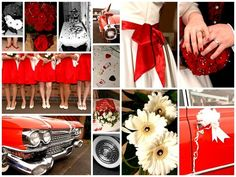 Red and white 50s style wedding