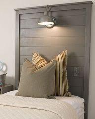 http://progresslightingparts.com  fantastic integration of a light switch on wall in bedroom!  Great light, DIY headboard...perfect all in a row for a big beach house! if-i-ever-have-a-beach-house-or-live-in-washington #home #lighting #decor #interiordesign