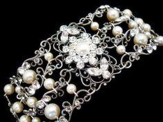 Cuff bracelet wedding jewelry bridal bracelet by treasures570, $95.00