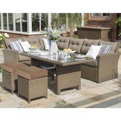 Hartman Madison Casual Dining Set Sepia/Henna (Brown Rattan) - (HMADSET10) - Garden Furniture World