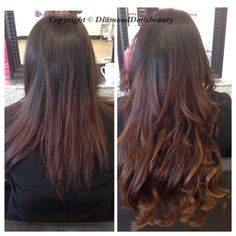 Before and after of a famous hair weave by Diamond dolls beauty