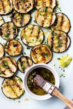 Who doesn't like zucchini? Such a versatile, tasty vegetable, it can be very useful in the arsenal of a vegan cook. One of the best ways to cook zucchini is to grill it, and that is the method that this Lemon Garlic Grilled Zucchini recipe uses. Vegetarian Grilling, Grilling Recipes, Vegetarian Recipes, Cooking Recipes, Healthy Recipes, Healthy Grilling, Cooking Bacon, Barbecue Recipes, Barbecue Sauce