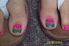watermelon french toes by aliciarock - Nail Art Gallery nailartgallery.nailsmag.com by Nails Magazine www.nailsmag.com #nailart