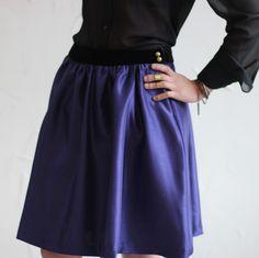 deep purple & black velvet skirt