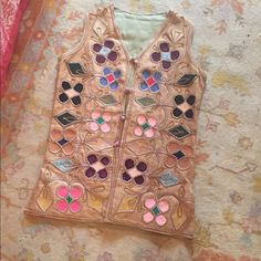 Vintage handmade burlap vest Vintage burlap vest embroidered felt and suede inlaid. Amazing hand work Vintage Tops Tunics