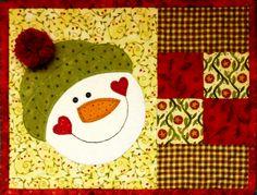 Snowman Mug Rug by Denise Clason, www.deniseclason.com #mugrug, #snowman