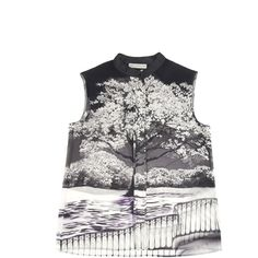 Mary Katrantzou Uppety Do Aria Blouse (71,245 INR) ❤ liked on Polyvore featuring tops, blouses, mary katrantzou, sleeveless tops, sleeveless blouse, white blouse and white sleeveless top