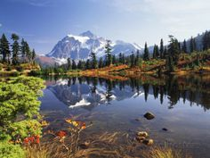 Mt Shuksan with Picture Lake, Mt Baker National Recreation Area, Washington, USA Fotografisk trykk