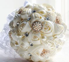 Ivory Satin Rose Wedding Bridal Bouquet With Pearls And Crystals