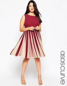 ASOS Curve | ASOS CURVE Fit & Flare Dress with Insert at ASOS