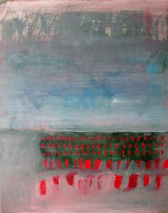 Red Dash, Original abstract landscape oil painting on paper ~ BrookeWandall