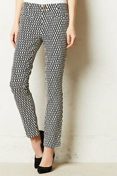 cross hatched black and white ankle trouser
