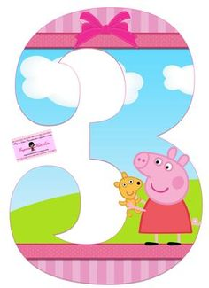 Alphabet Peppa Pig in the Field with Puppy. - Oh my Alfabetos! Invitacion Peppa Pig, Cumple Peppa Pig, Third Birthday, 3rd Birthday Parties, Birthday Party Decorations, Special Birthday, Peppa E George, George Pig, Peppa Pig Imagenes