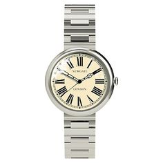 Buy Newgate WWSLBTVS014BVS Unisex Liberty Vintage Stainless Steel Bracelet Strap Watch, Silver/Cream Online at johnlewis.com