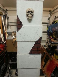 Pillar for Halloween cemetery,  1/2 way done