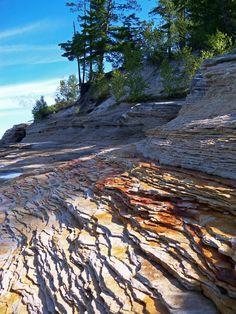 The sand stone layers near Mosquito Beach, Grand Marais, Michigan, USA