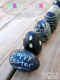 how to make #Chalkboard #Easter eggs for the kids to decorate http://www.gingersnapcrafts.com/2013/03/chalkboard-easter-eggs-tutorial.html