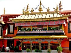The golden-roofed Jokhang is one of Tibet's holiest shrines, built to commemorate the marriage of the Chinese princess Wen Cheng of the Tang Dynasty to King Songtsen Gampo of the Tubo Kingdom.  The shrine houses a pure gold statue of the Buddha Skyamuni brought to Tibet by the princess in the year 700.