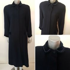 Gorgeous long coat, woven in Scotland from pure new wool, with velvet collar and cuffs. The coat flares out slightly, so to nip in the waist you may wish to add a belt. Ashley Blue, Laura Ashley, Jean Muir, Collar And Cuff, Retro Outfits, Vintage Designs, Vintage Dresses, Scotland, Velvet