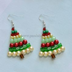 Beaded Christmas Tree Jewelry - New Ideas Christmas Tree Earrings, Beaded Christmas Ornaments, Christmas Crafts, Xmas, Diy Ornaments, Felt Christmas, Glass Ornaments, Angel Ornaments, Homemade Christmas