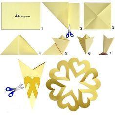 Как сложить классическую шестиугольную снежинку