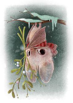 Illustrations and Animal Art by Sydney Hanson by SydneyHansonArt Cute Animal Drawings, Cute Drawings, Fantasy Kunst, Fantasy Art, Animals Watercolor, Watercolor Paper, Cute Bat, Art And Illustration, Cute Animal Illustration