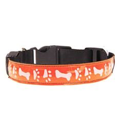 Visky ® cat Cat Dog Puppy LED Light Safety Collar Bone Pattern, Three Flash Mode, Adjustable-Orange-M *** Wow! I love this. Check it out now! : Cat Collar, Harness and Leash