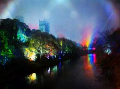 Durham cathedral and the light waterfall on Kingsgate Bridge which was part of Durham's Lumiere light festival in 2011.