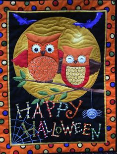 Happy  Halloween Quilted Wall decor Owls on Etsy, $24.00