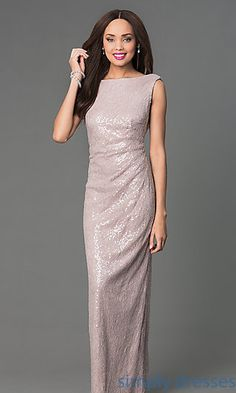 Floor Length Sequin Embellished Lace Gown at SimplyDresses.com