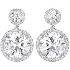 Preowned 12.02 Carats Of Round Brilliant Gia Cert Diamond Platinum... (1.005.875 BRL) ❤ liked on Polyvore featuring jewelry, earrings, bijoux, multiple, preowned jewelry, round diamond earrings, platinum earrings, platinum jewellery and round earrings